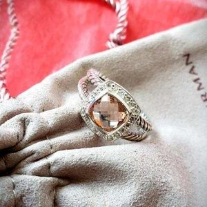DY Sterling Silver Ring Morganite Diamonds